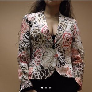 Floral print long sleeve blazer top